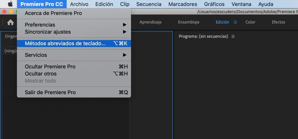 Metodos abreviados de teclado en Premiere Pro