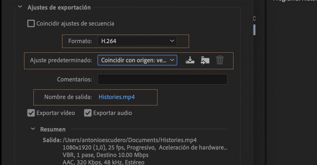 Ajustes de exportacion adobe premiere Editalo pro