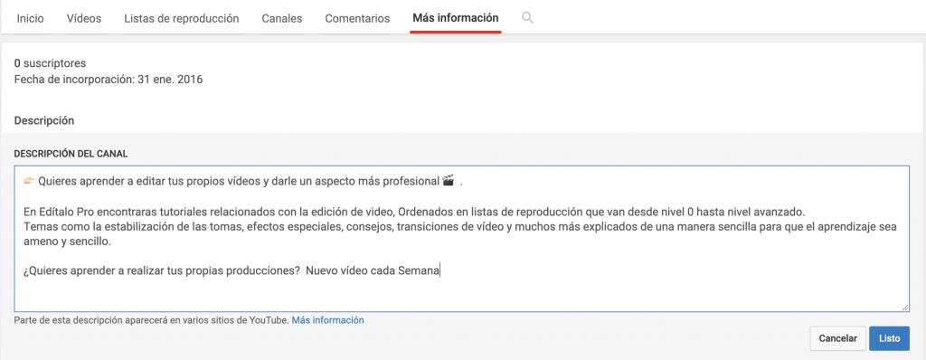 Pestaña mas información Youtube