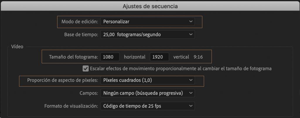 ajustes de secuencia en adobe premiere editalo pro