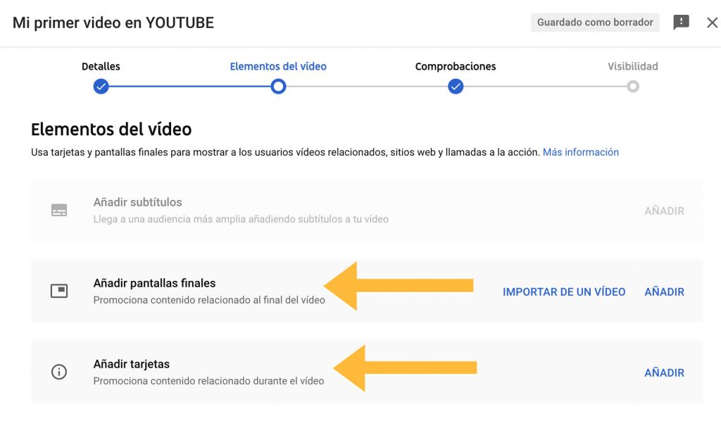 añadir pantallas finales al video de youtube