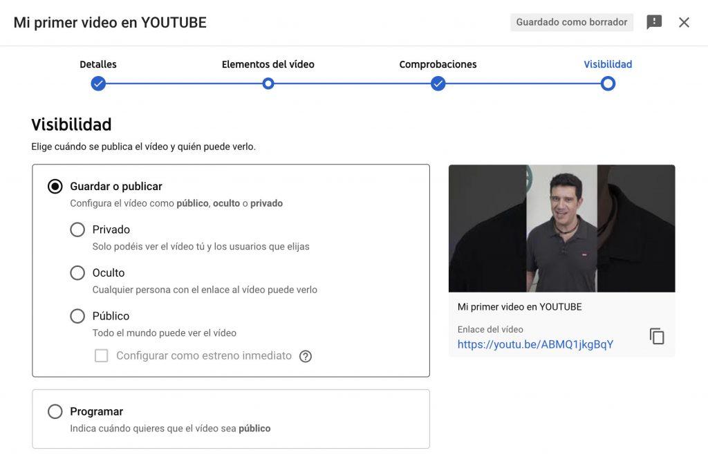 guardar o publicar un video en youtube