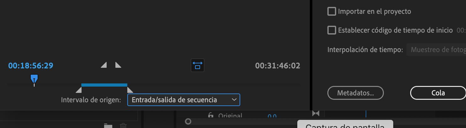 ajustes de exportación en adobe premiere para clips