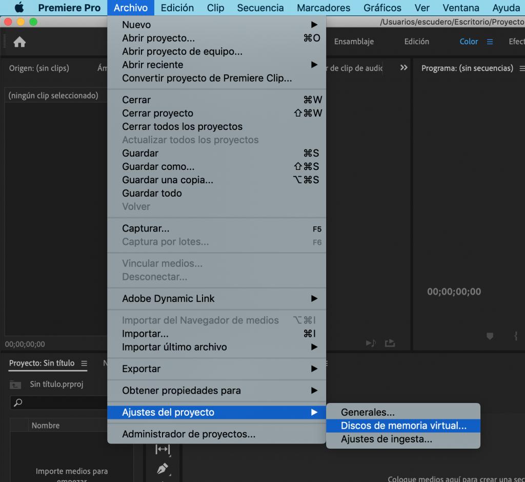 Discos de memoria virtual en Adobe Premiere