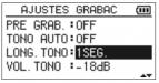 Longitud tono Tascam- dr05