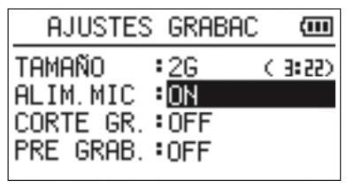 Alimentación del Micrófono Tascam DR05
