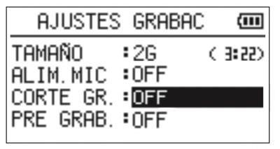 Filtro de Corte de graves Tascam dr05