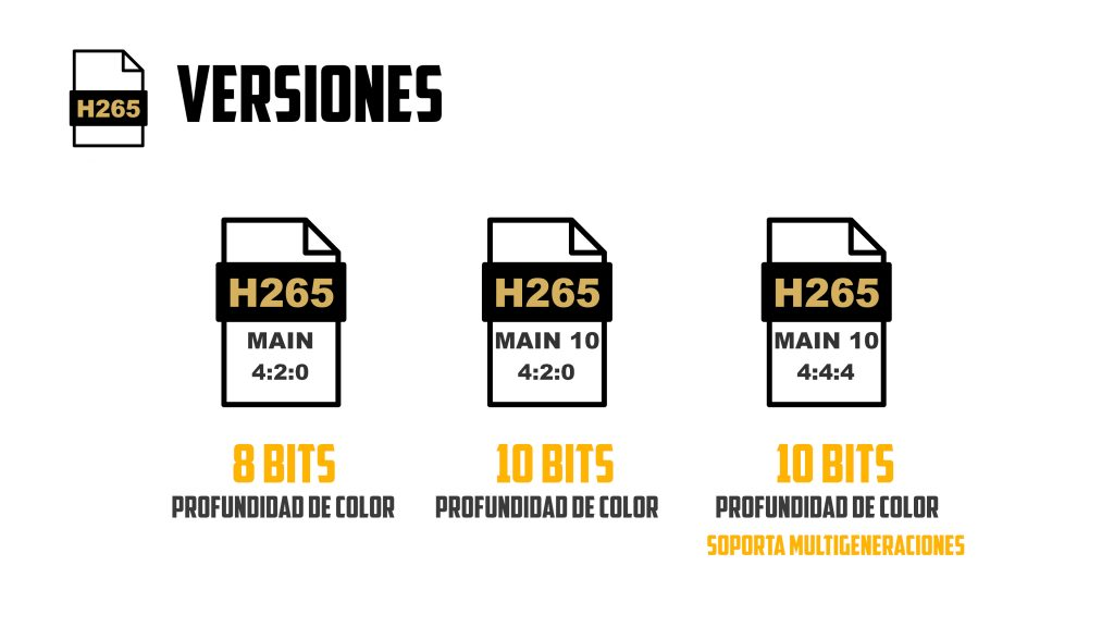 Versiones del codec h265