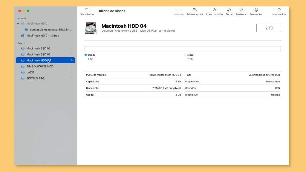 paso 1 unidad de discos en mac